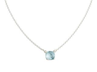 Nola halskæde sølv med 10 mm facetteret blå sten