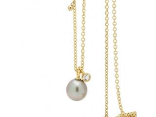 Lang halskæde med luksus tahitiperle og indfattet klar topas