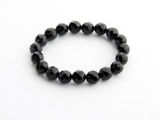 Facetteret 12 mm onyx armbånd