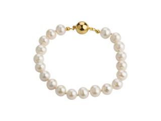 Perlearmbånd med hvide, runde ferskvandsperler 7,5-8 mm og magnet lås