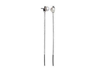 Ørestik sort rhodineret sølv med kæde og hvid ferskvandsperle