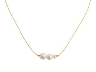 Forgyldt sølv halskæde med 3 hvide ferskvandsperler