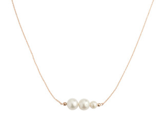 Rosa forgyldt sølv halskæde med 3 hvide ferskvandsperler