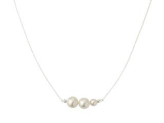 Sølv halskæde med 3 hvide ferskvandsperler
