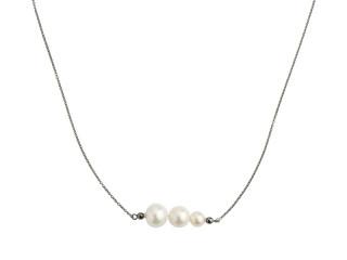 Sort rhodineret sølv halskæde med 3 hvide ferskvandsperler