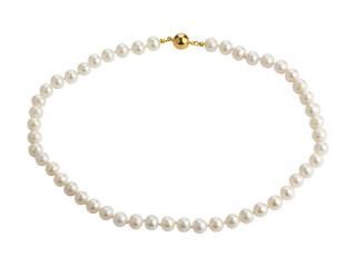 Perlekæde med hvide runde ferskvandsperler 7,5-8 mm og sølv magnet lås
