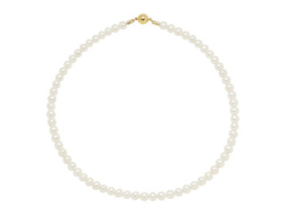 Halskæde m hvide ferskvandsperler 6-6½ mm, magnetlås i sølv eller forgyldt sølv