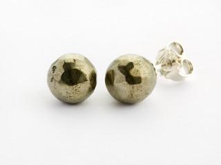 Sølv ørestik 8 mm facetteret pyrit