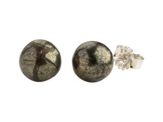 Sølv ørestik 8 mm blank pyrit