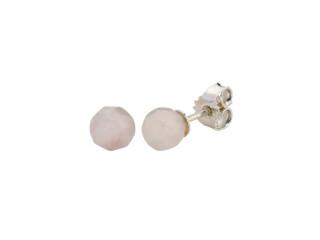 Sølv ørestik 6 mm facetteret rosaquartz