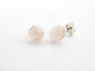 Sølv ørestik 8 mm facetteret rosaquarts