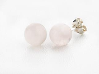 Sølv ørestik 8 mm blank rosaquartz