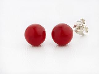 Sølv ørestik 8 mm blank rød sea bamboo