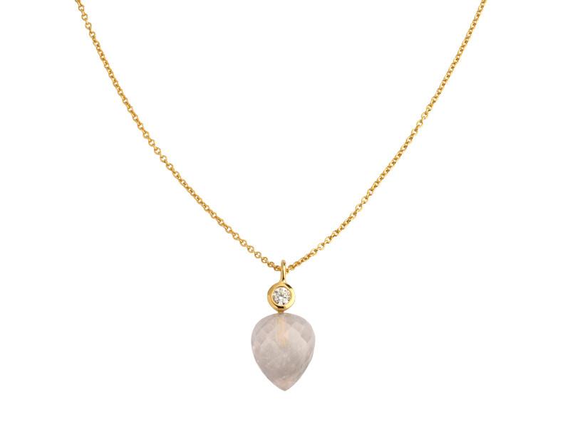Forgyldt sølv halskæde m. facetteret rosenkvarts og zirkon