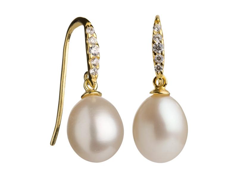 Forgyldt sølv ørering m. hvid perle 8,5-9 mm og zirkoner